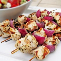 Grilled Chicken Red Onion and Mint Kebabs