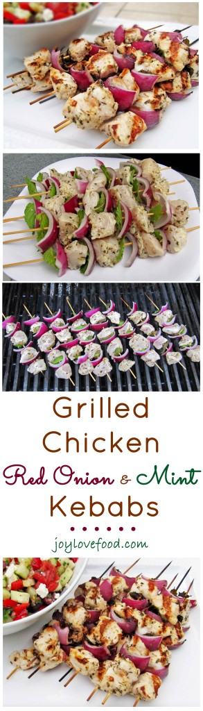 These colorful Grilled Chicken, Red Onion and Mint Kebabs are so pretty and easy to prepare. Perfect for simple summer entertaining or a delicious meal anytime.