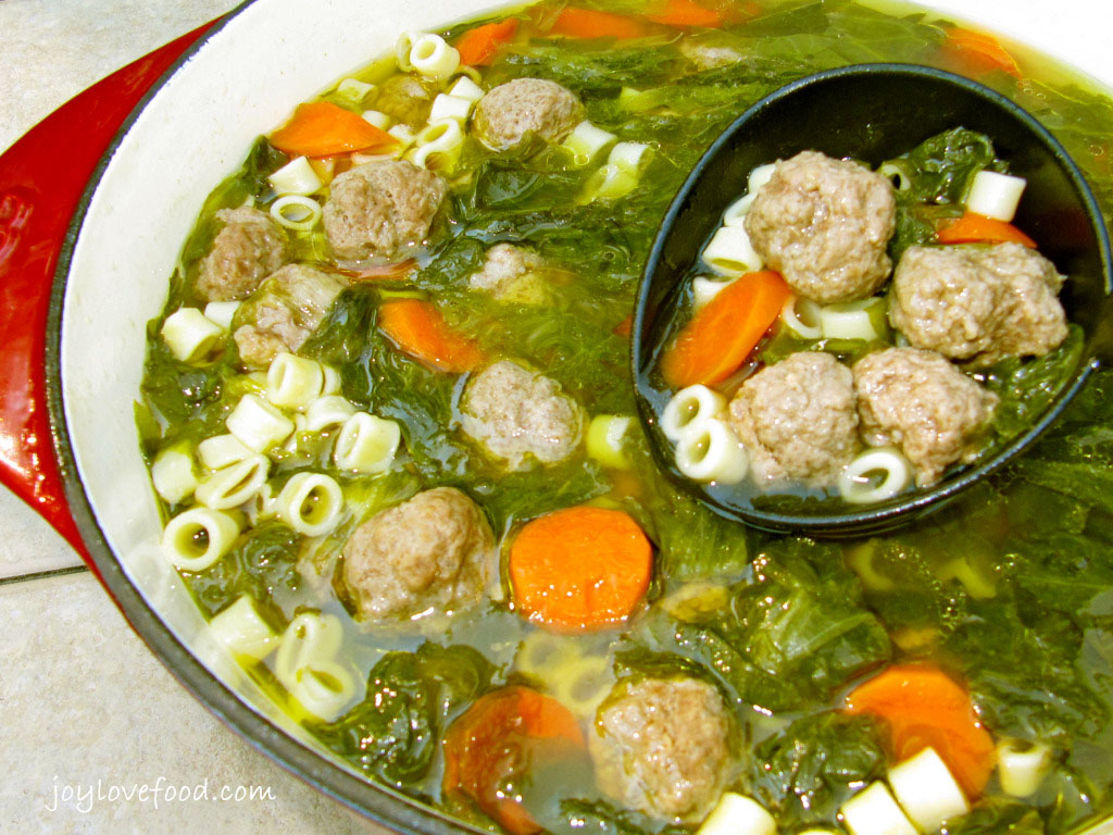 Meatball Soup - Kids and grown-ups alike will love this yummy hearty soup chock full of little meatballs, bite sized pasta, carrots and escarole.