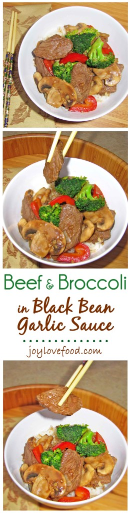 Beef & Broccoli in Black Bean Garlic Sauce - a delicious stir-fry with slices of beef and colorful veggies in a savory, slightly sweet, black bean garlic sauce. Perfect for a quick and easy weeknight dinner.