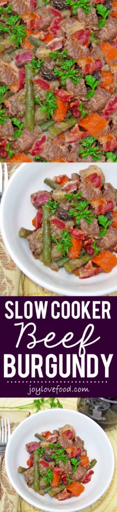 Slow Cooker Beef Burgundy - a hearty stew of beef and vegetables simmered in a red wine sauce, perfect for a cozy meal on a crisp fall day.