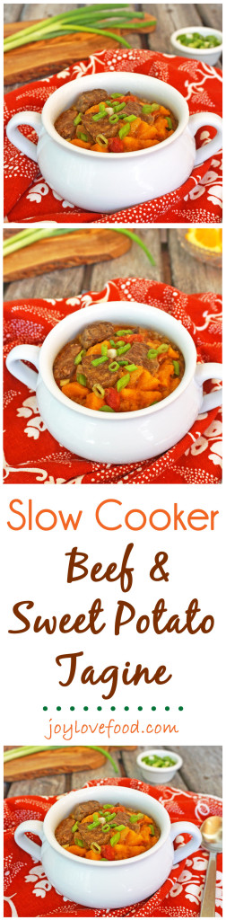 Slow Cooker Beef & Sweet Potato Tagine - a delicious, hearty stew with Moroccan spices, perfect for a cozy meal on a cool day, plus your house will smell of the amazing warm scents of cinnamon and cumin as it simmers away in your slow cooker.
