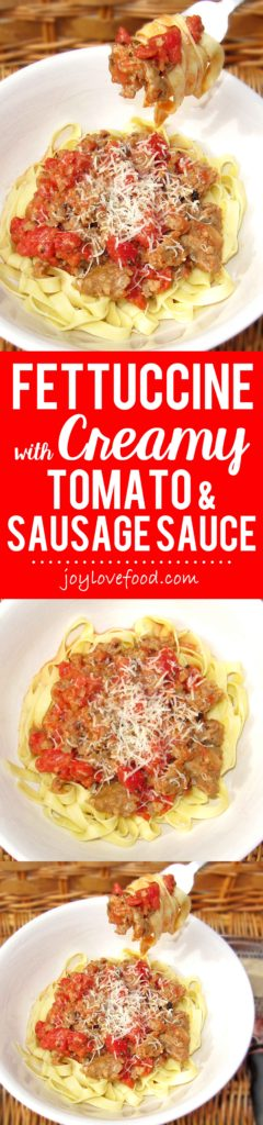 Fettuccine with Creamy Tomato and Sausage Sauce - a delicious, savory, creamy tomato and sausage sauce, served over pasta, is a hearty and comforting meal, perfect for a chilly evening.