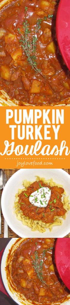 Pumpkin Turkey Goulash - a lighter, yet still hearty and delicious, version of the classic Hungarian stew. Perfect for a cozy fall dinner.