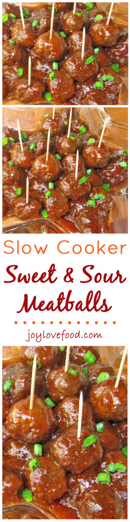 Slow Cooker Sweet & Sour Meatballs - these tasty, tangy and sweet, little meatballs are so easy to make and keep warm in the slow cooker, perfect for a game day get together, potluck or party anytime.