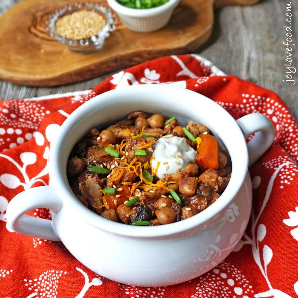 Crock Pot Chicken, Carrot & Chickpea Tagine - a delicious, hearty Moroccan stew that is easy to make and will fill your house with an amazing aroma as it simmers away in your slow cooker.