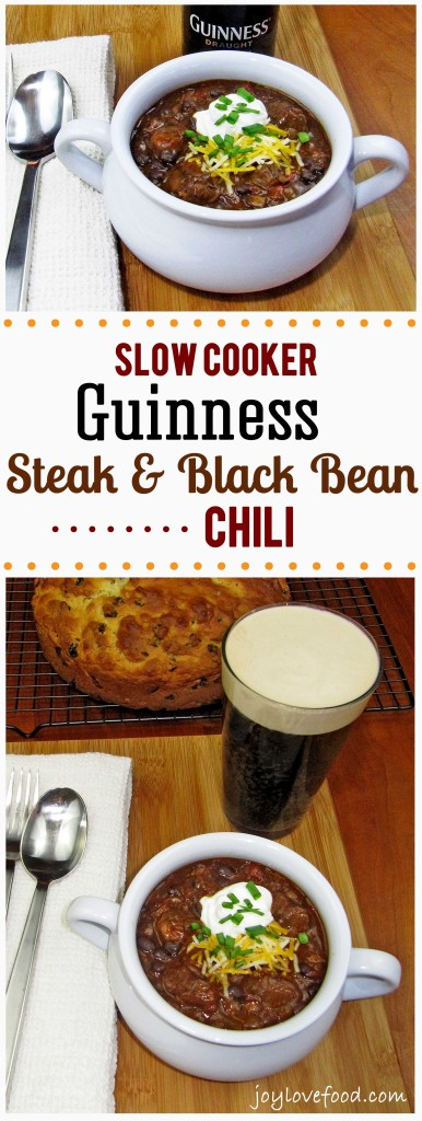 This delicious and hearty Slow Cooker Guinness Steak and Black Bean Chili is perfect anytime you're craving some warm and satisfying comfort food.