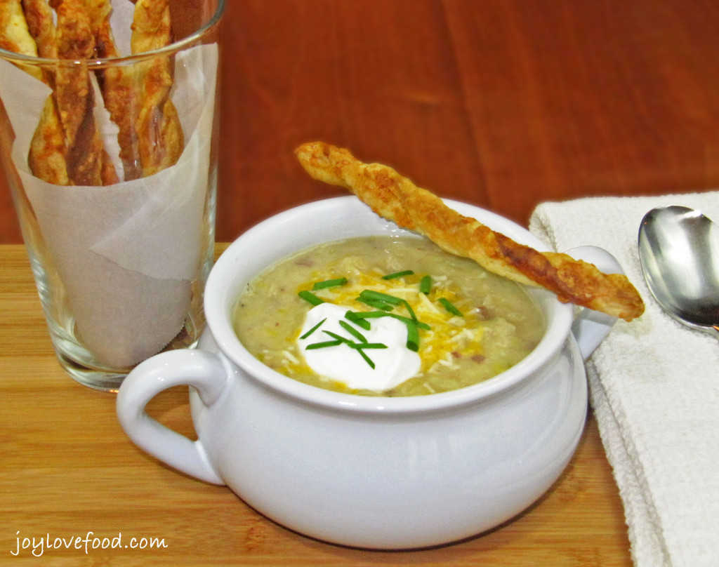 Irish Colcannon Soup with Cheddar Cheese Straws