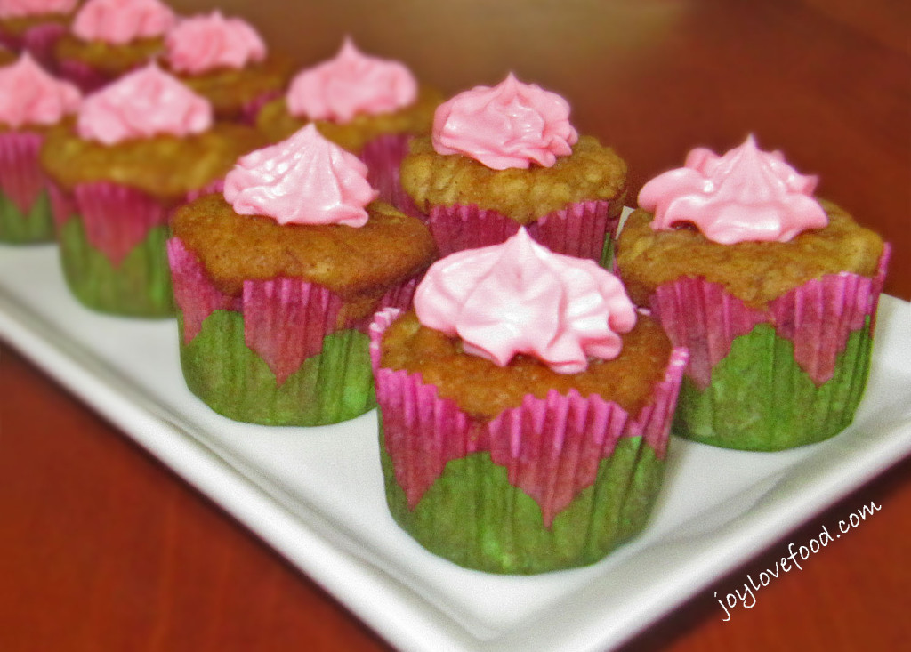 Apple Banana Mini Muffins with Vanilla Cream Cheese Frosting