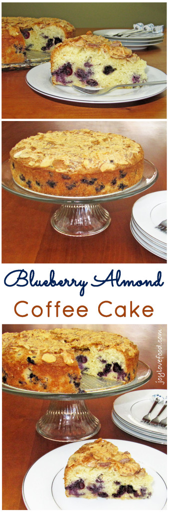 Blueberry Almond Coffee Cake - a delicious coffee cake, bursting with bright blueberries and topped with crunchy, salty and sweet almonds. A wonderful addition to a breakfast or brunch, for Easter, Mother's Day or anytime.