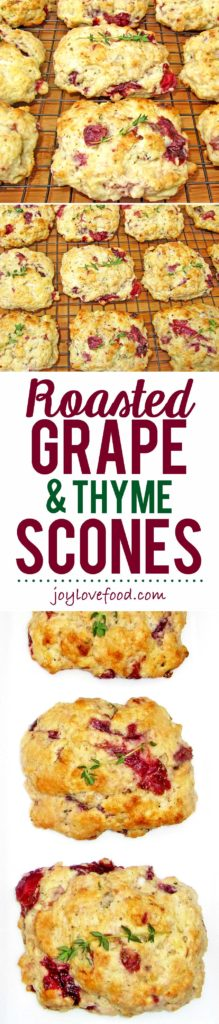 Juicy and sweet, roasted grapes, pair beautifully with fresh thyme in these soft, delicious Roasted Grape and Thyme Scones.
