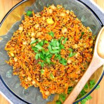 Curried Quinoa and Chickpea Salad with Carrots, Apples & Raisins