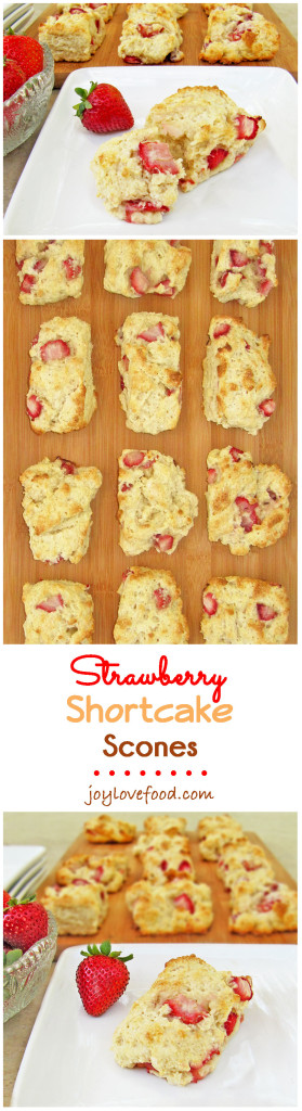 Fresh strawberries and cream are a delicious combination in these, tender, light and flaky Strawberry Shortcake Scones.