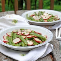 Green Bean and Radish Salad with Garlic Scape Mustard Vinaigrette