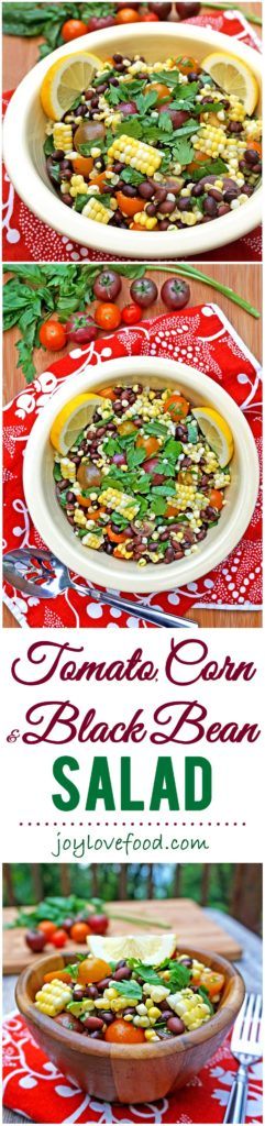 Tomato, Corn and Black Bean Salad - easy preparation with simple, fresh ingredients makes for a delicious salad. Perfect for summer barbeques or a healthy meal anytime.