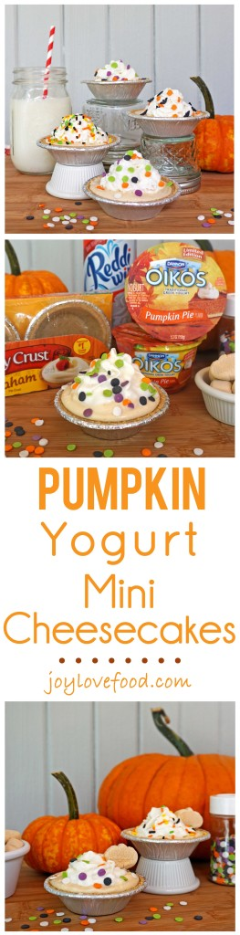 Pumpkin Yogurt Mini Cheesecakes - a delicious, easy and healthy version of pumpkin cheesecake, perfect for an afterschool snack that kids will have a great time assembling and decorating by themselves. #EffortlessPies #shop