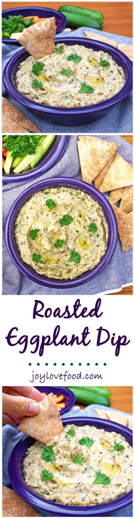 Roasted Eggplant Dip – a delicious dip filled with smoky eggplant flavor, perfect for your next party, game day or get together. It is also wonderful as a sandwich filling.