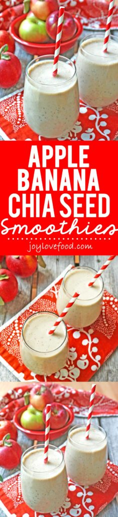Apple Banana Chia Seed Smoothies - these delicious and refreshing smoothies are perfect for a healthy breakfast or snack anytime.