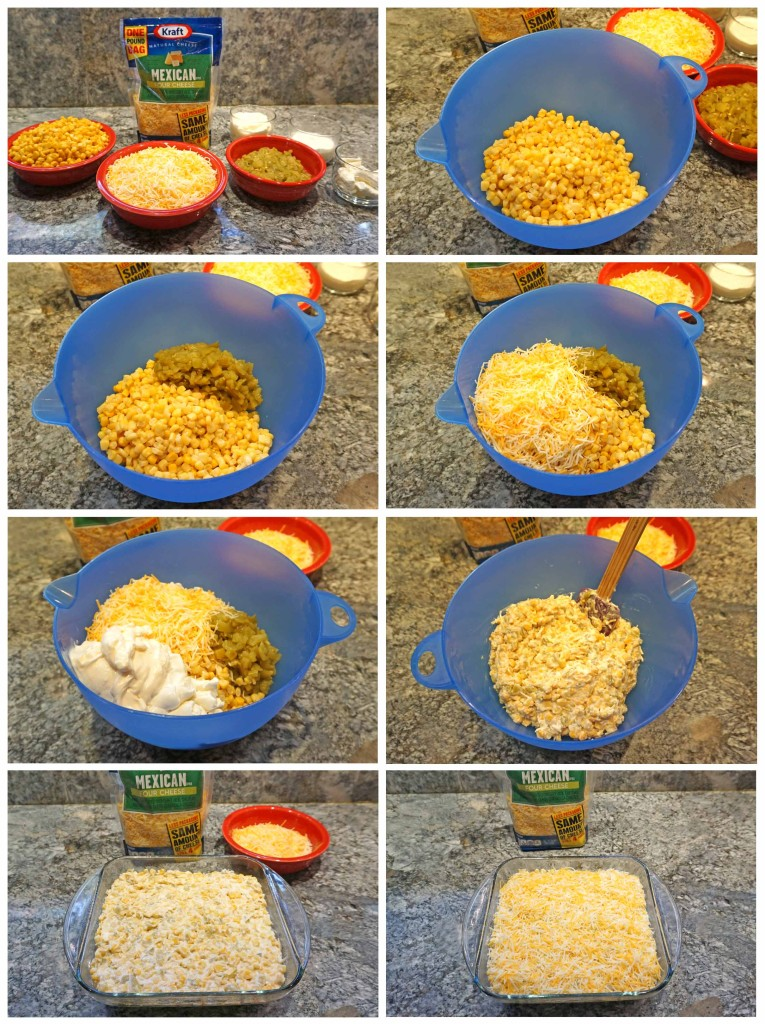 Hot Cheesy Mexican Corn Dip - how to assemble