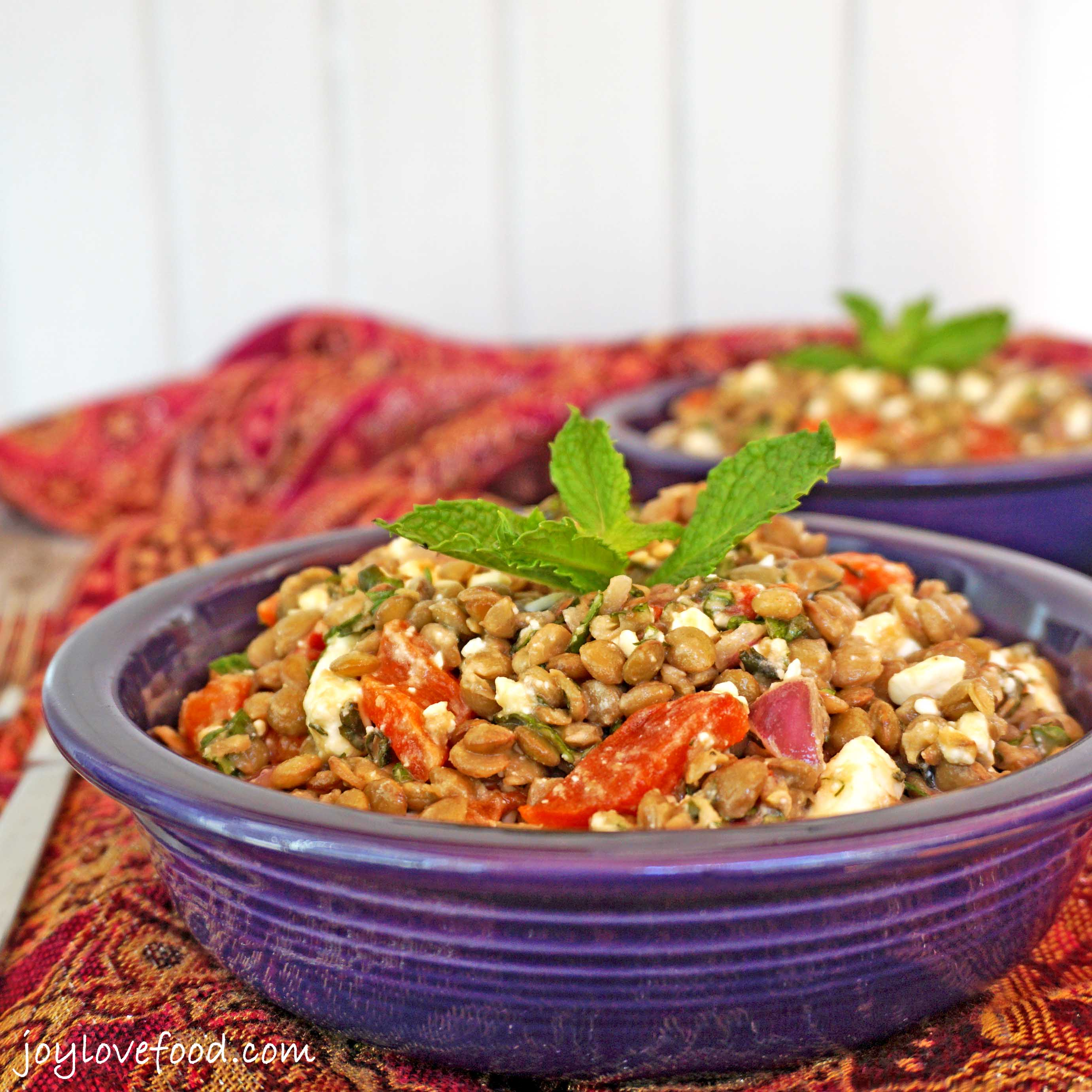 Lentil Salad with Roasted Red Peppers, Feta and Mint - a delicious ...