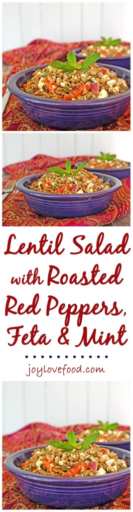 Lentil Salad with Roasted Red Peppers, Feta and Mint - a delicious protein packed salad that can be served warm or cold, great as a side dish or vegetarian main course.