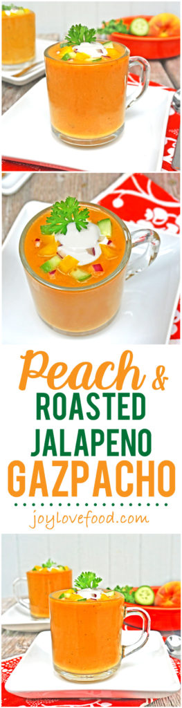 Peach and Roasted Jalapeno Gazpacho - a delicious, refreshing, chilled soup with a smoky, spicy kick. Great for a light meal, an appetizer or a first course for a dinner party.