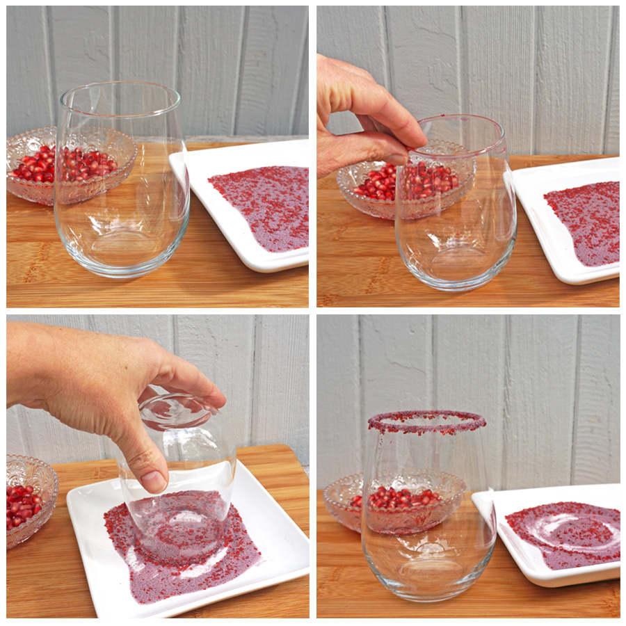 Sparkling Pomegranate Punch - How to make a pomegranate sugar rim