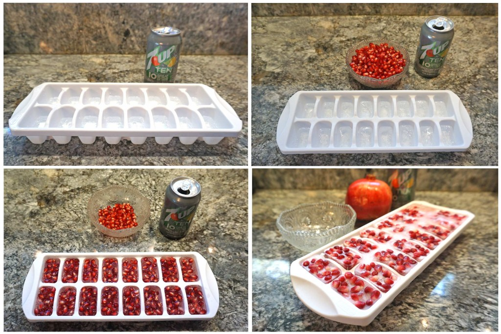 Sparkling Pomegranate Punch - making pomegranate ice cubes