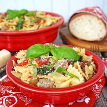 One Pot Pasta with Tomatoes Sausage and Kale