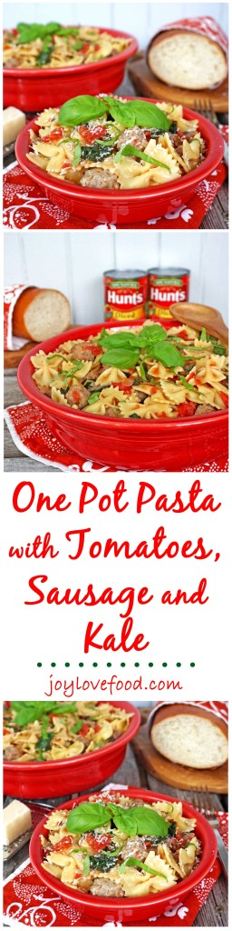 One Pot Pasta with Tomatoes, Sausage and Kale - a delicious one pot meal, perfect for a quick and easy family dinner or entertaining guests during the busy holiday season. #YesYouCAN #ad