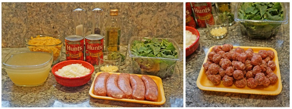 One Pot Pasta with Tomatoes Sausage and Kale - gather ingredients