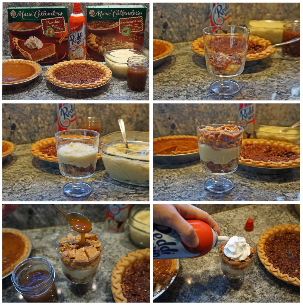 Pumpkin and Pecan Pie Trifles - assembling the trifles