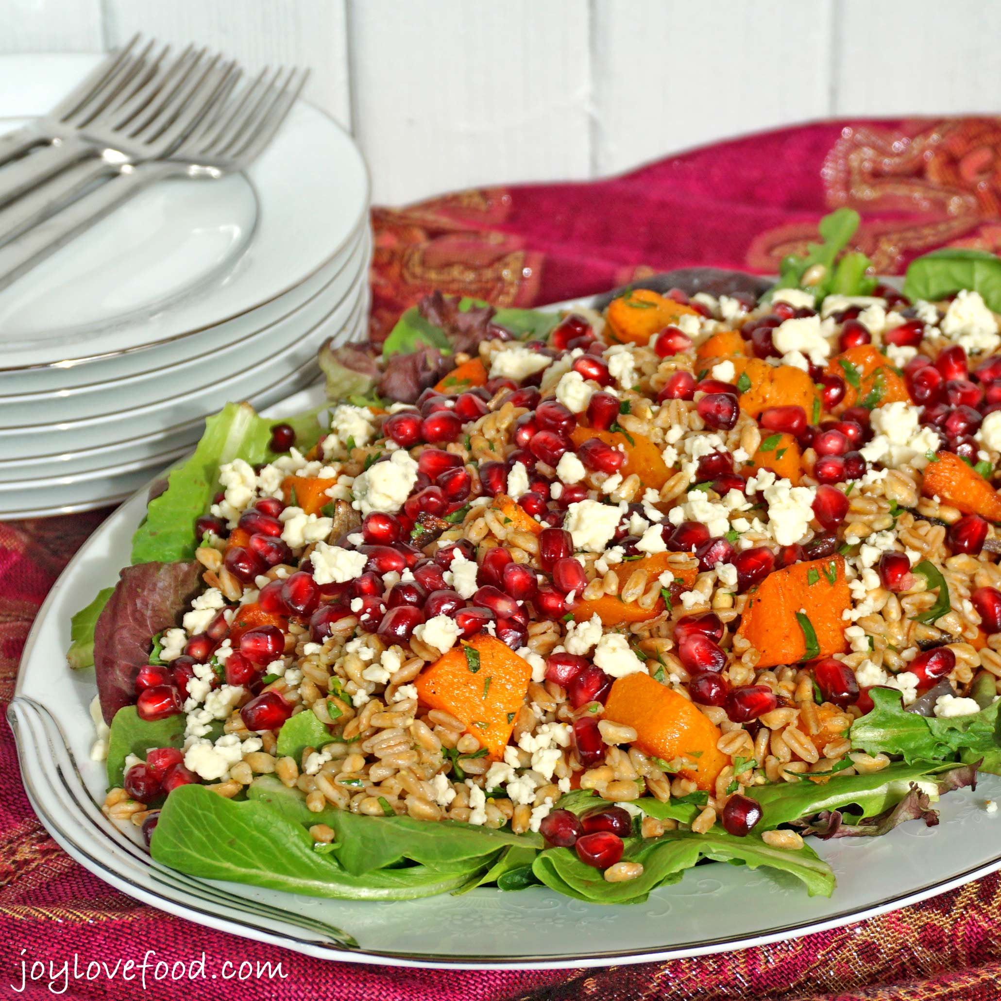 Farro Salad with Roasted Butternut Squash, Pomegranate and Gorgonzola