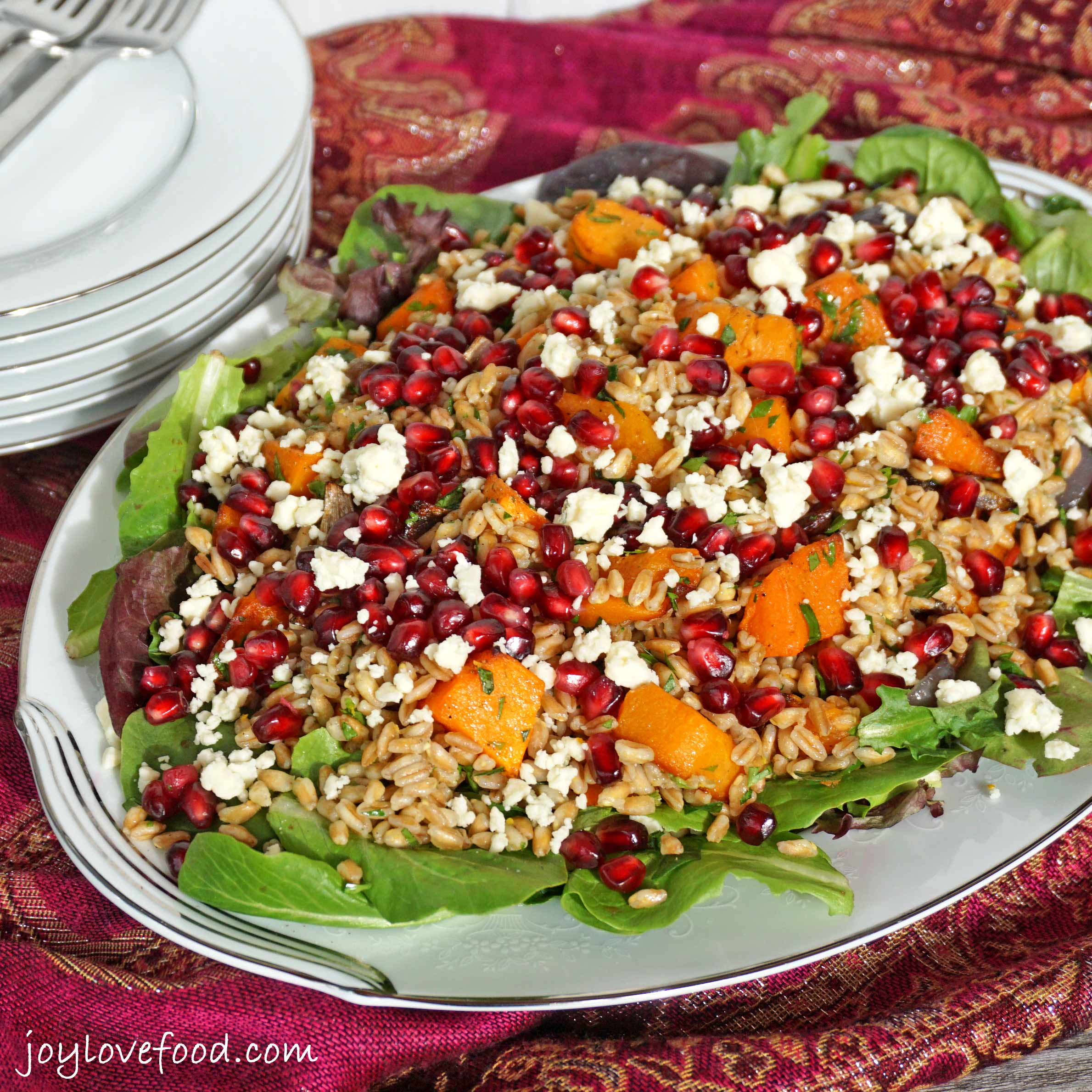 Farro Salad with Roasted Butternut Squash, Pomegranate and ...