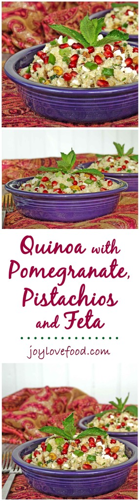 Quinoa with Pomegranate, Pistachios and Feta - a delicious, protein-rich salad that can be served warm or chilled, great as a side dish or vegetarian main course.