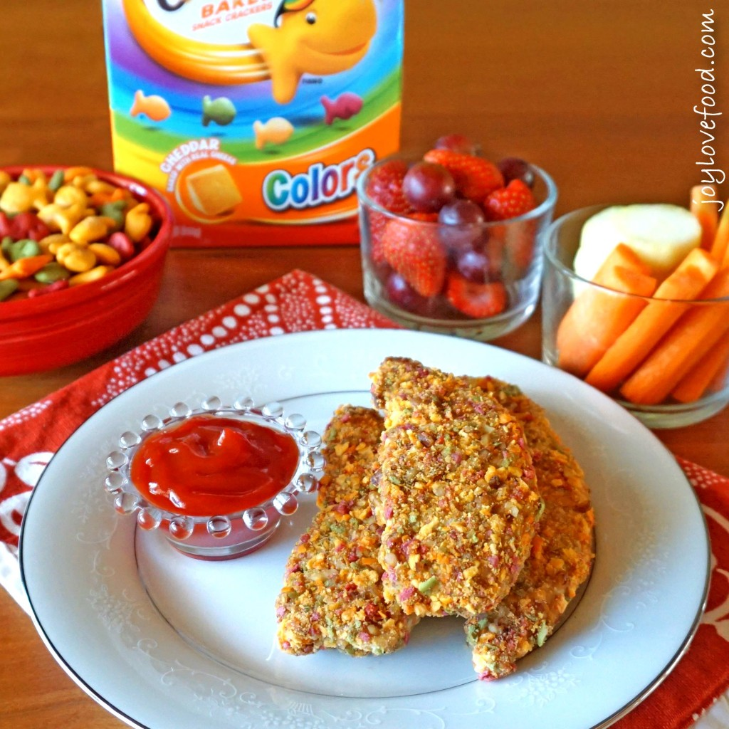 Rainbow Cracker and Pecan Crusted Chicken Fingers