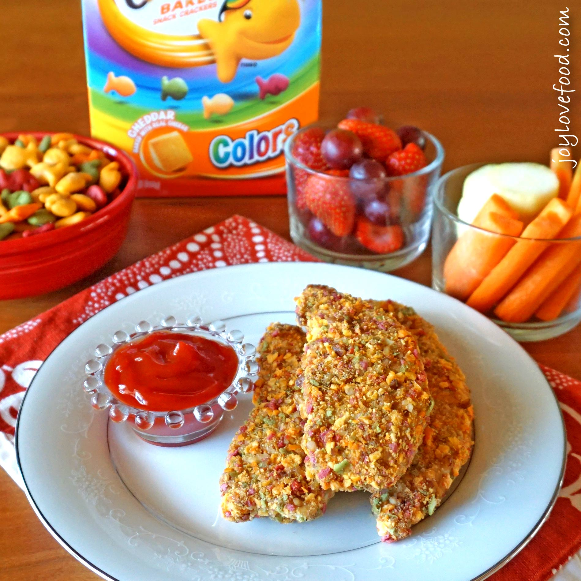 Rainbow Cracker and Pecan Crusted Chicken Fingers - Joy Love Food