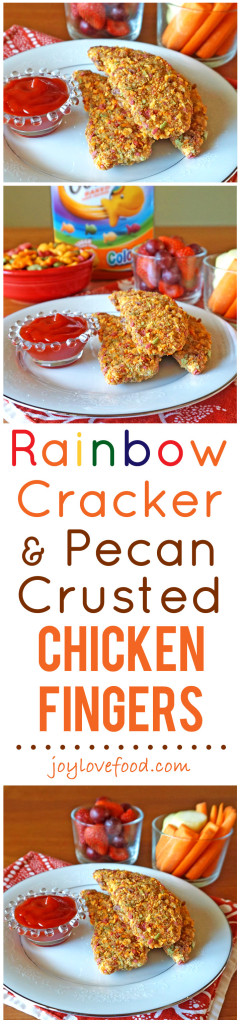 Rainbow Cracker and Pecan Crusted Chicken Fingers – baked chicken fingers with a fun, colorful, crunchy coating, perfect for a wholesome family dinner that kids will have a great time helping to prepare. #GoldfishMix #Walmart #ad
