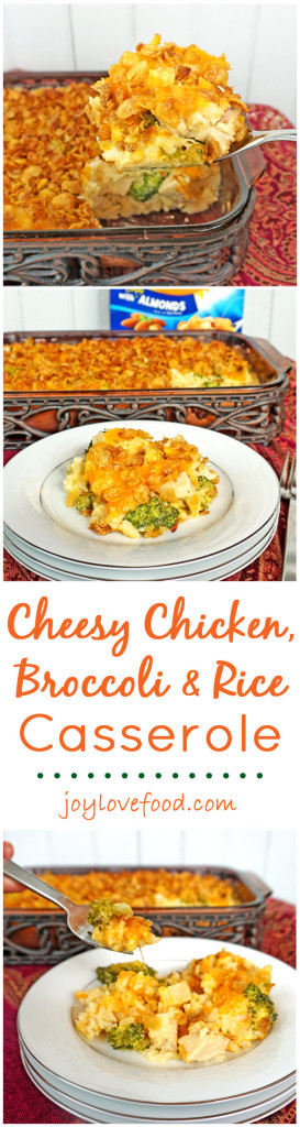 Cheesy Chicken, Broccoli and Rice Casserole - a delicious, cheesy casserole with a crunchy cereal and almond topping made with Honey Bunches of Oats, perfect for an easy dinner that the whole family will enjoy. #CerealAnytime #ad