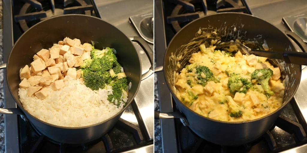 Cheesy Chicken, Broccoli and Rice Casserole - add ingredients to sauce