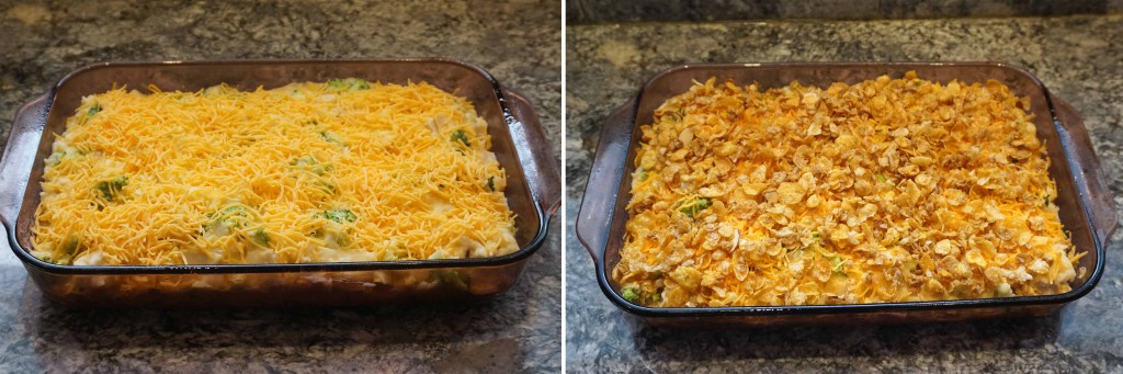 Cheesy Chicken, Broccoli and Rice Casserole - topping the casserole