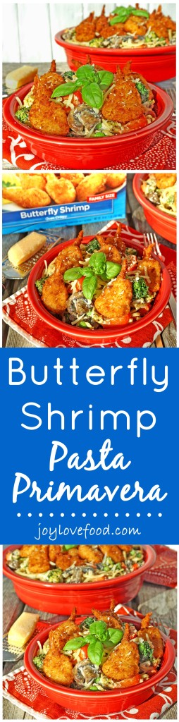 Butterfly Shrimp Pasta Primavera - linguini and colorful vegetables are tossed in a creamy sauce and topped with crispy butterfly shrimp, for a delicious, coastal inspired meal that the whole family will enjoy. #ShrimpItUp #ad
