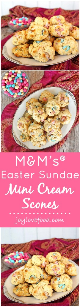 M&M's® Easter Sundae Mini Cream Scones - delicious, mini-sized scones made with colorful M&M's® are the perfect little Easter and springtime treat. #SweeterEaster #ad