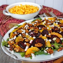 Roasted Beet Salad with Oranges Goat Cheese and Candied Walnuts