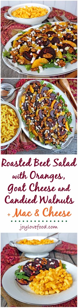 Roasted Beet Salad with Oranges, Goat Cheese and Candied Walnuts along with STOUFFER'S® Mac & Cheese is perfect for a delicious and easy dinner that the whole family will enjoy. #STOUFFERSGOODNESS #ad