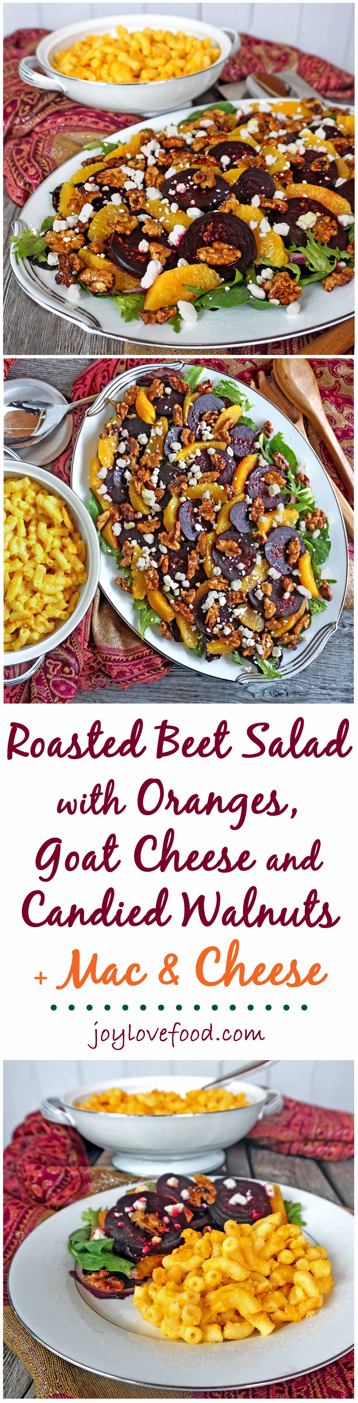Roasted Beet Salad with Oranges, Goat Cheese and Candied Walnuts along ...
