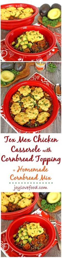 Tex Mex Chicken Casserole with Cornbread Topping - a delicious, hearty casserole that is full of flavor. Perfect for an easy, cozy dinner that the whole family will enjoy. #YesYouCAN #ad