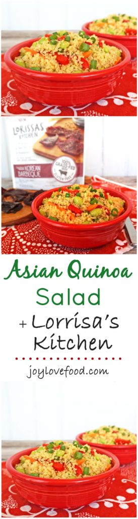 Asian Quinoa Salad - a flavorful quinoa salad with colorful vegetables, tossed in a ginger sesame dressing, along with Lorissa's Kitchen premium protein snacks, is the perfect pairing for a healthy, delicious, on-the-go snack. #SavvySnacking #ad