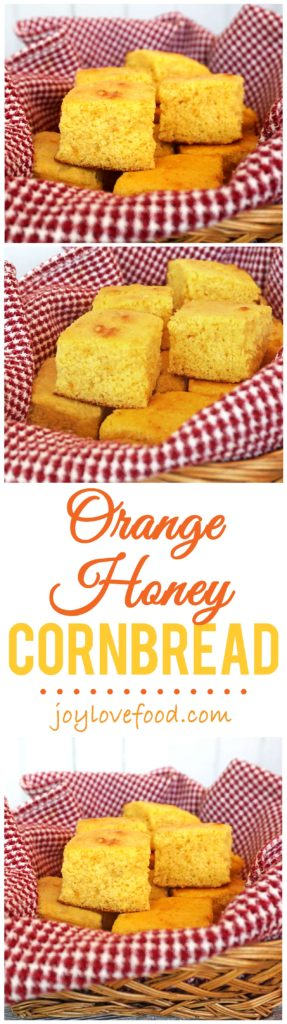 Orange Honey Cornbread - this moist and delicious cornbread has a hint of sweetness and a subtle orange flavor and is so easy to make using a homemade mix.