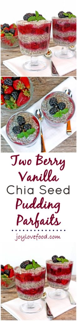 Two Berry Vanilla Chia Seed Pudding Parfaits - these protein rich parfaits are great for breakfast or a healthy snack anytime.